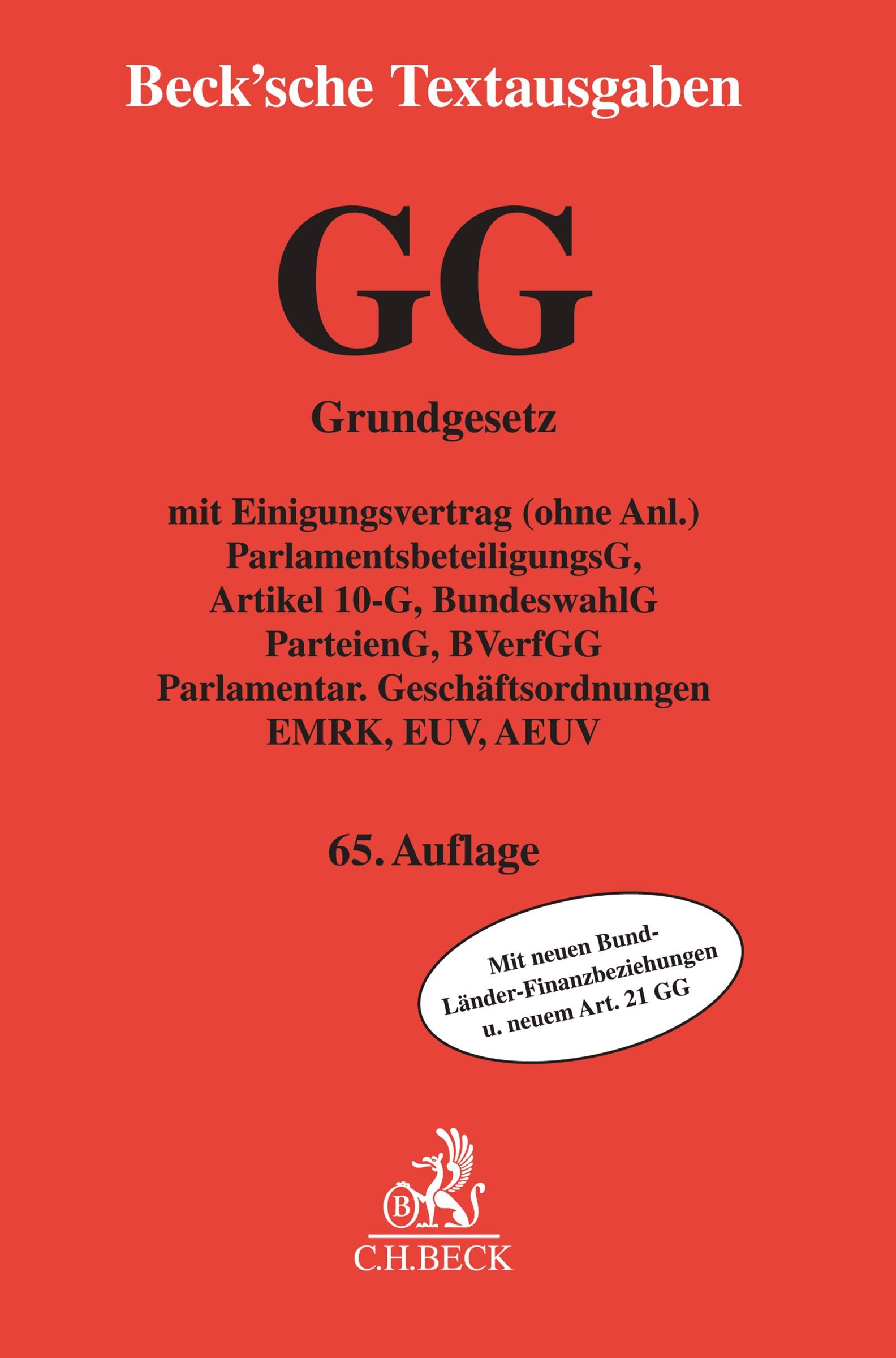 Grundgesetz für die Bundesrepublik Deutschland: GG | 65., neu bearbeitete Auflage, 2017 | Buch (Cover)