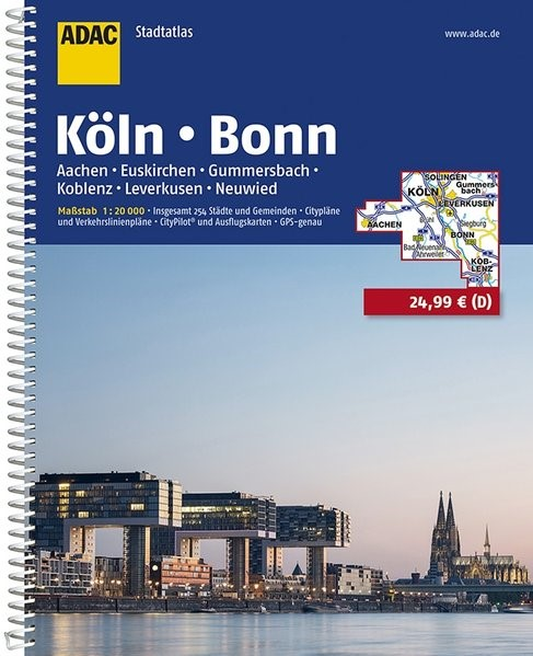 Abbildung von ADAC Stadtatlas Köln, Bonn, Aachen, Euskirchen, Gummersbach, Koblenz, Leverkusen 1:20000   11. Auflage, Laufzeit bis 2021   2017