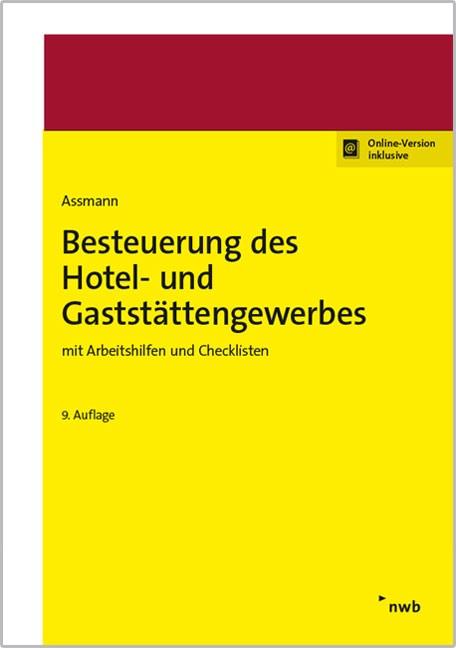 Besteuerung des Hotel- und Gaststättengewerbes | Assmann | 9. Auflage, 2017 | Buch (Cover)
