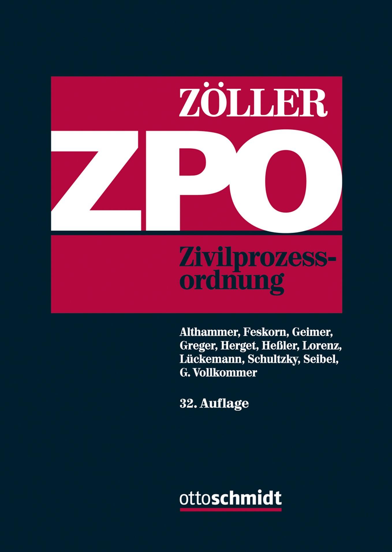 ZPO | Zöller | 32., neu bearbeitete Auflage, 2017 | Buch (Cover)