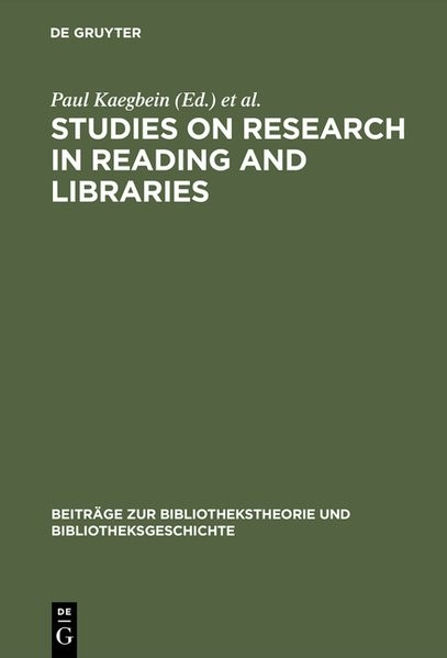 Studies on research in reading and libraries | Kaegbein / Vodosek / Zahn | Reprint 2017, 1991 | Buch (Cover)