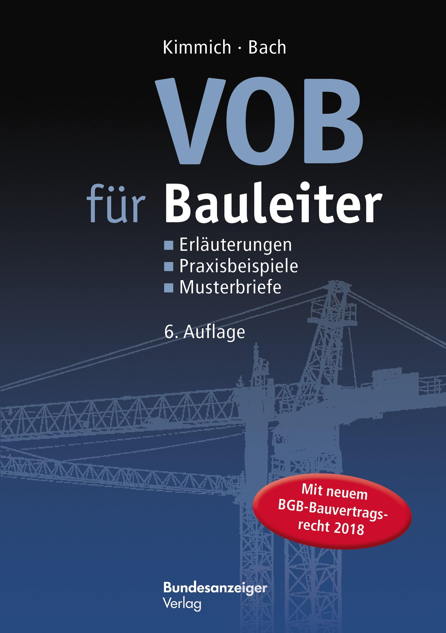 VOB für Bauleiter | Kimmich / Bach | 6., aktualisierte Auflage, 2017 | Buch (Cover)