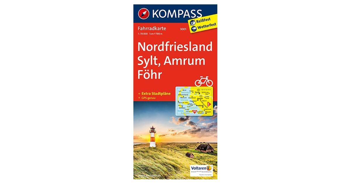 Karte Sylt Amrum.Kompass Karten Gmbh Nordfriesland Sylt Amrum Föhr 1 70 000