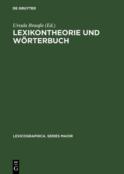 Lexikontheorie und Wörterbuch | Brauße, 1992 | Buch (Cover)