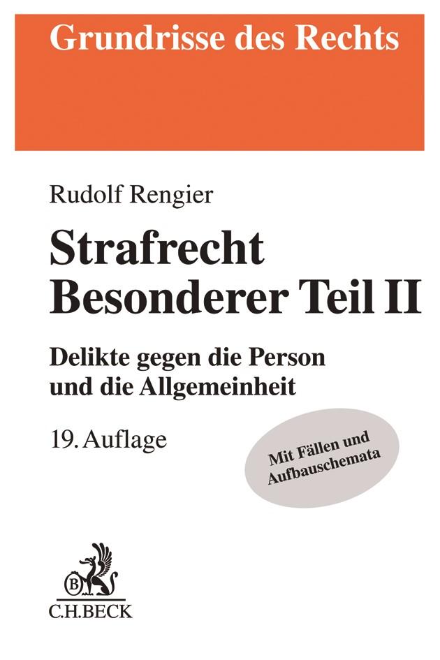 Strafrecht Besonderer Teil II | Rengier | 19., neu bearbeitete Auflage, 2018 | Buch (Cover)