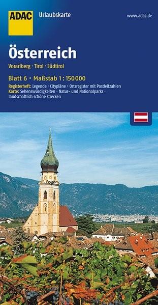 ADAC UrlaubsKarte Österreich 06: Vorarlberg, Tirol, Südtirol 1 : 150 000 | 6. Auflage, 2017 (Cover)