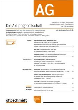 Abbildung von Die Aktiengesellschaft • AG | 2020 | Zeitschrift für deutsches, eur...
