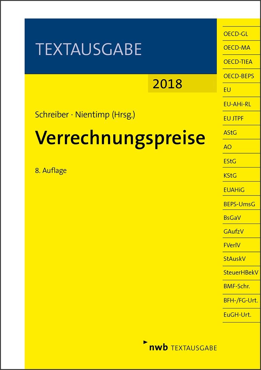 Verrechnungspreise | Schreiber / Nientimp (Hrsg.) | 8. Auflage, 2019 | Buch (Cover)