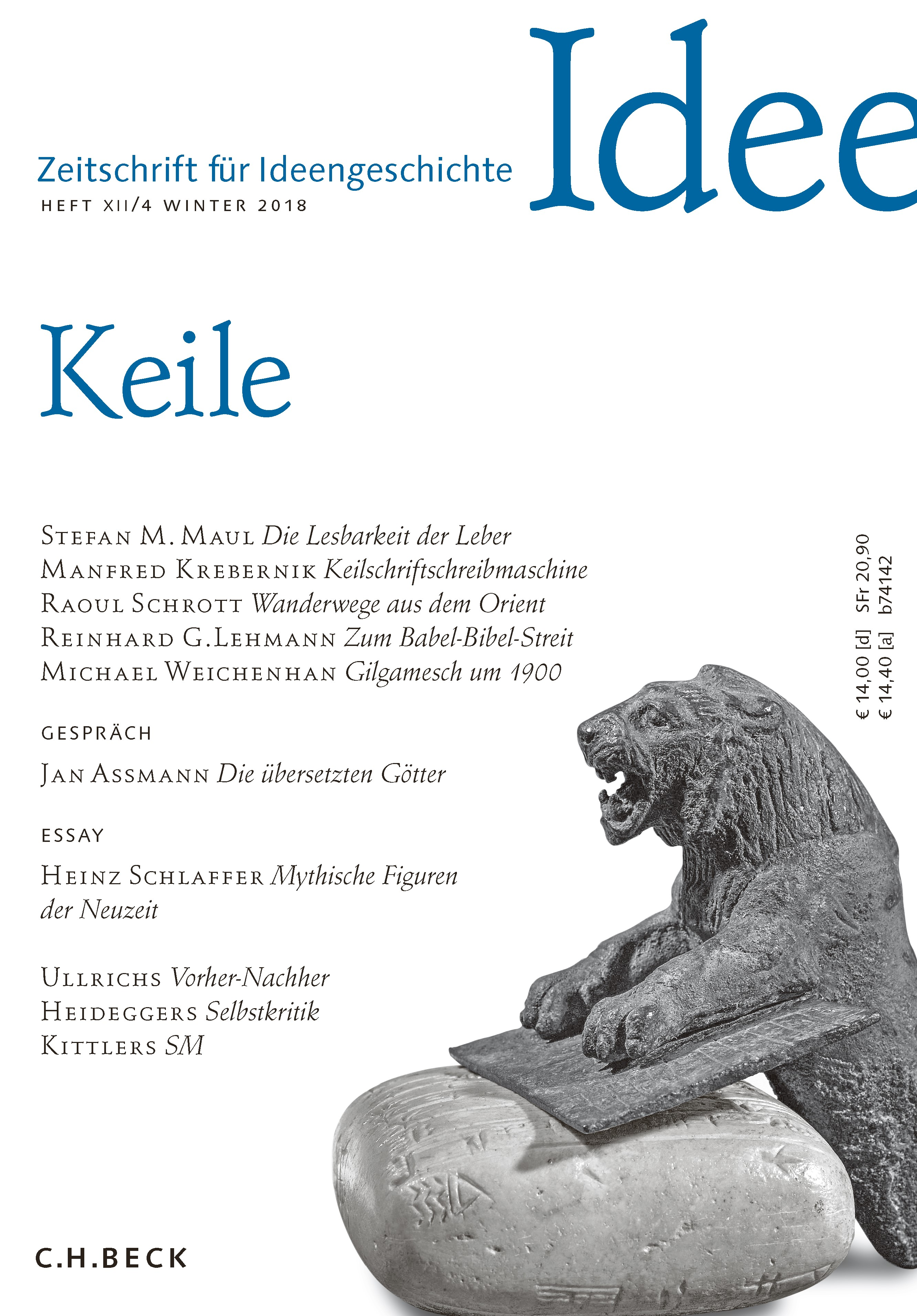 Abbildung von Zeitschrift für Ideengeschichte Heft XII/4 Winter 2018   2018