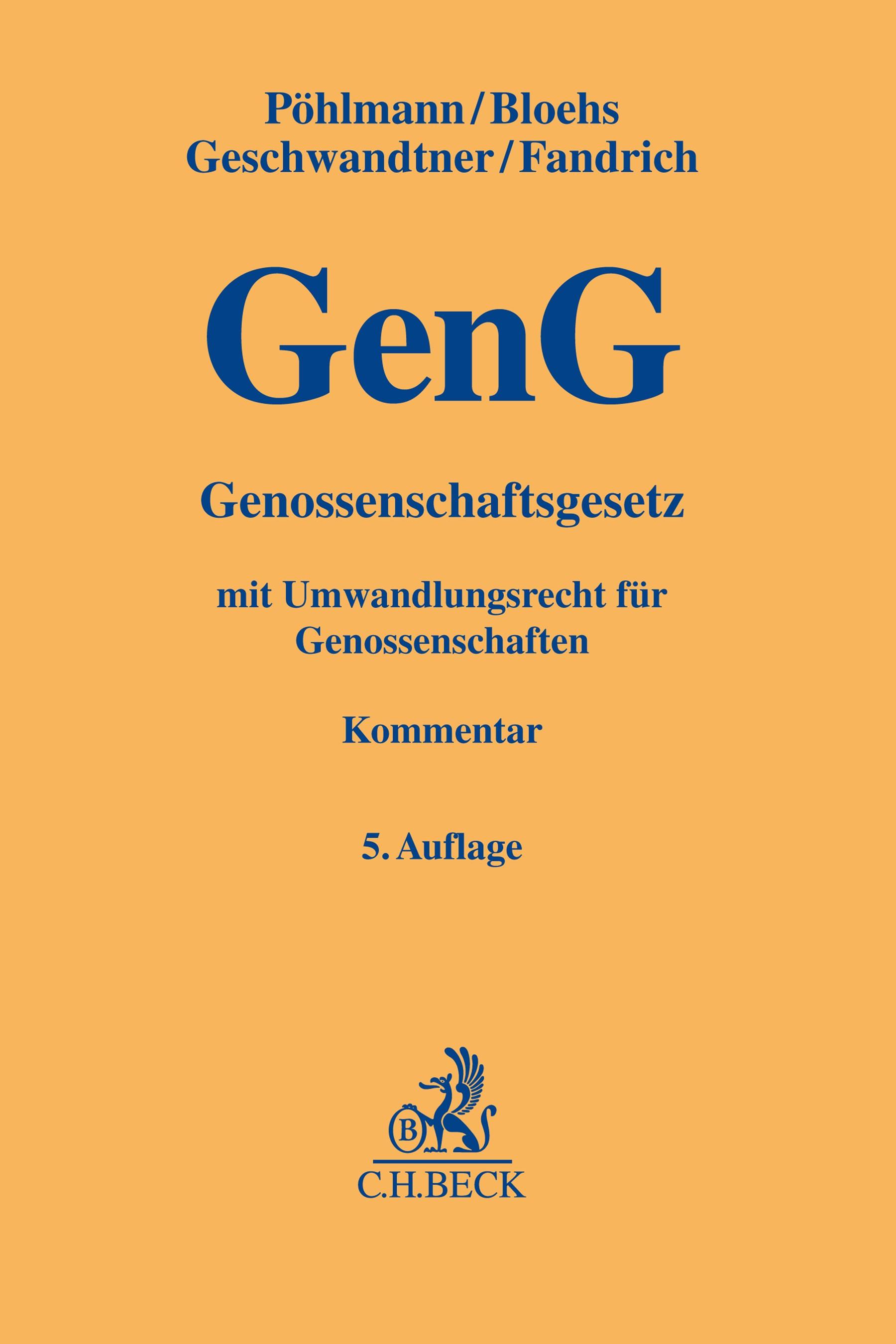 Genossenschaftsgesetz: GenG | 5. Auflage, 2018 | Buch (Cover)