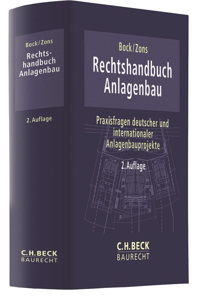 Rechtshandbuch Anlagenbau | Bock / Zons | 2. Auflage, 2019 | Buch (Cover)