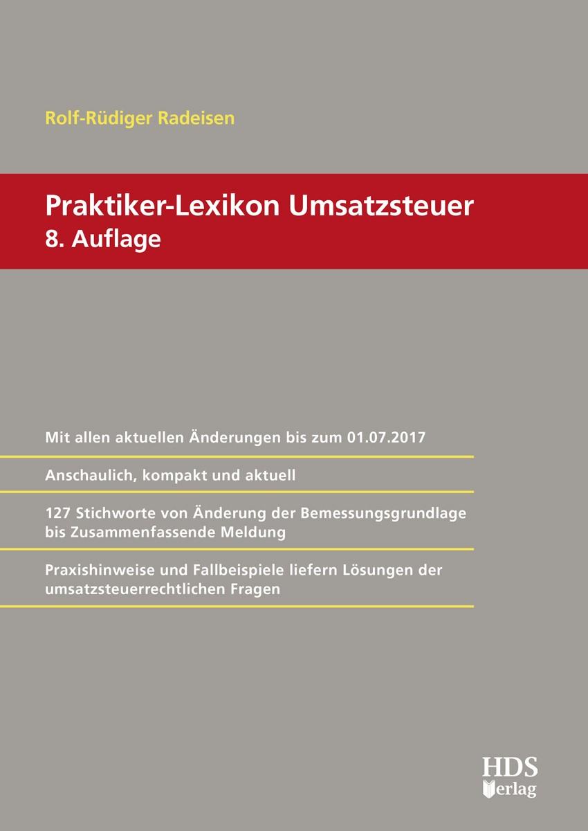 Praktiker-Lexikon Umsatzsteuer | Radeisen | 8. Auflage, 2017 | Buch (Cover)