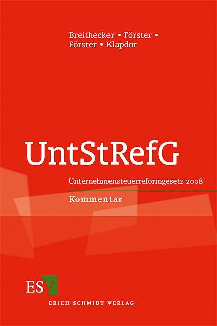 UntStRefG | Breithecker / Förster / Förster / Klapdor, 2007 | Buch (Cover)