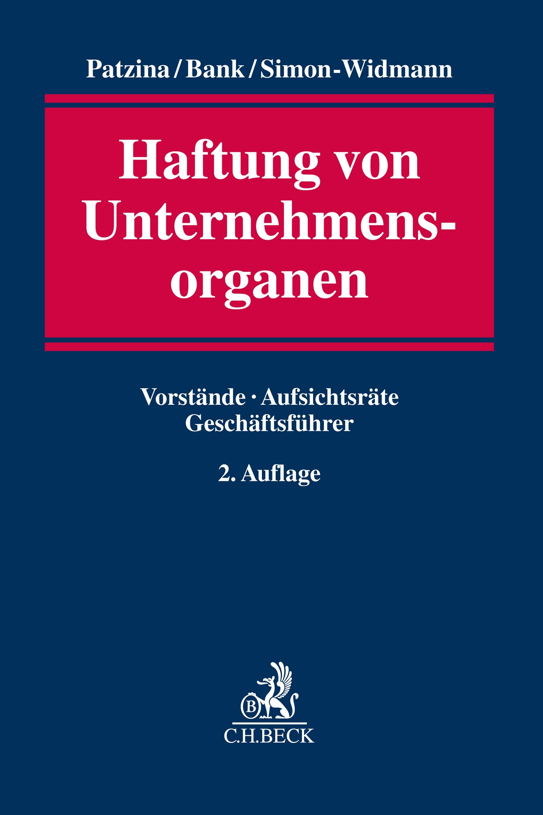 Abbildung von Patzina / Bank / Simon-Widmann   Haftung von Unternehmensorganen   2. Auflage   2019