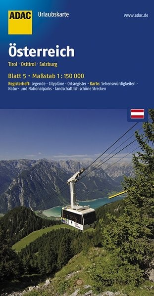 ADAC UrlaubsKarte Österreich 05: Tirol, Osttirol, Salzburg 1 : 150 000 | 6. Auflage, Laufzeit bis 2021, 2017 (Cover)