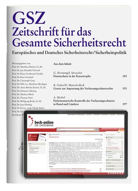GSZ • Zeitschrift für das Gesamte Sicherheitsrecht | 1. Jahrgang, 2018 (Cover)