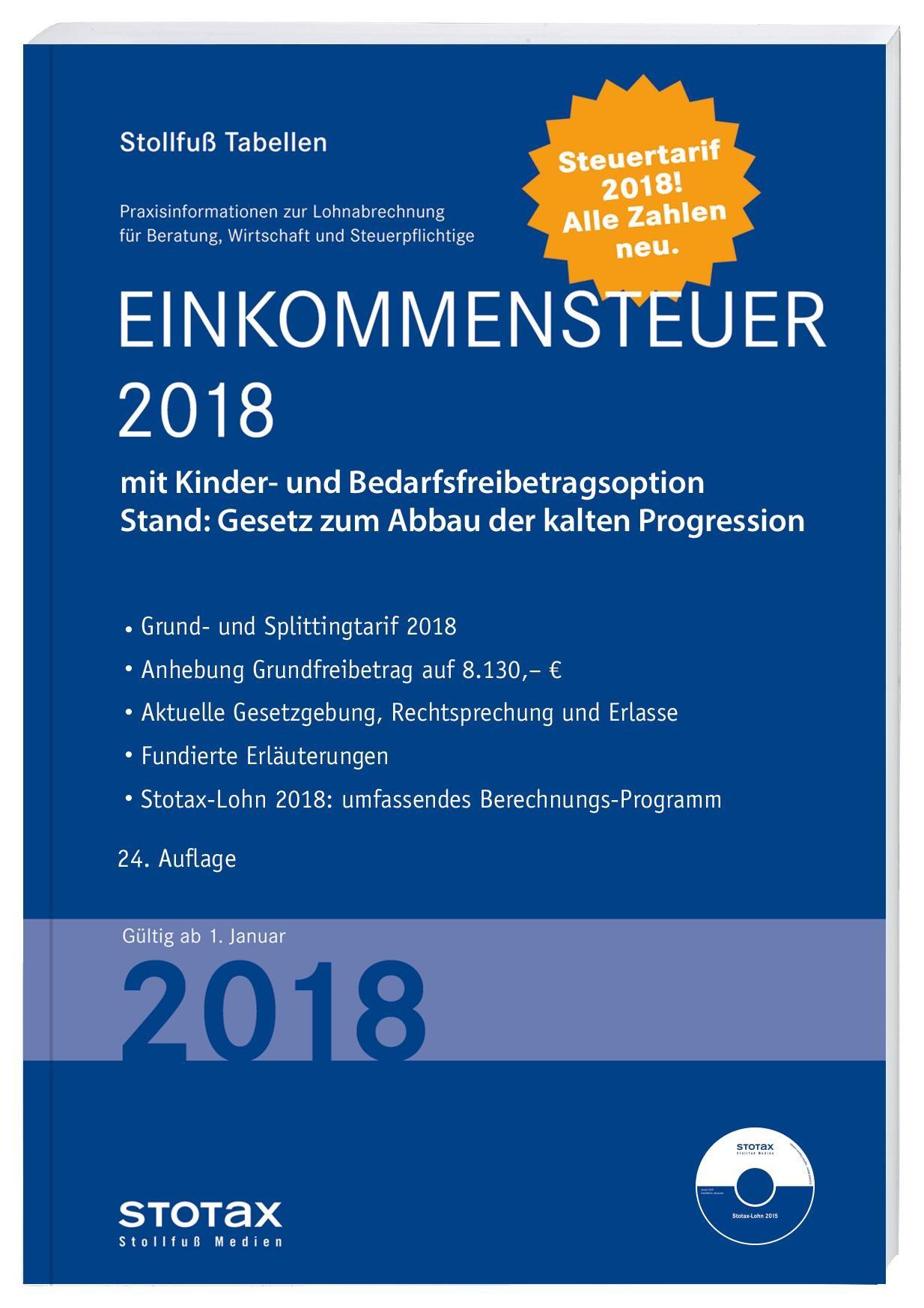 Tabelle, Einkommensteuer 2018   Buch (Cover)
