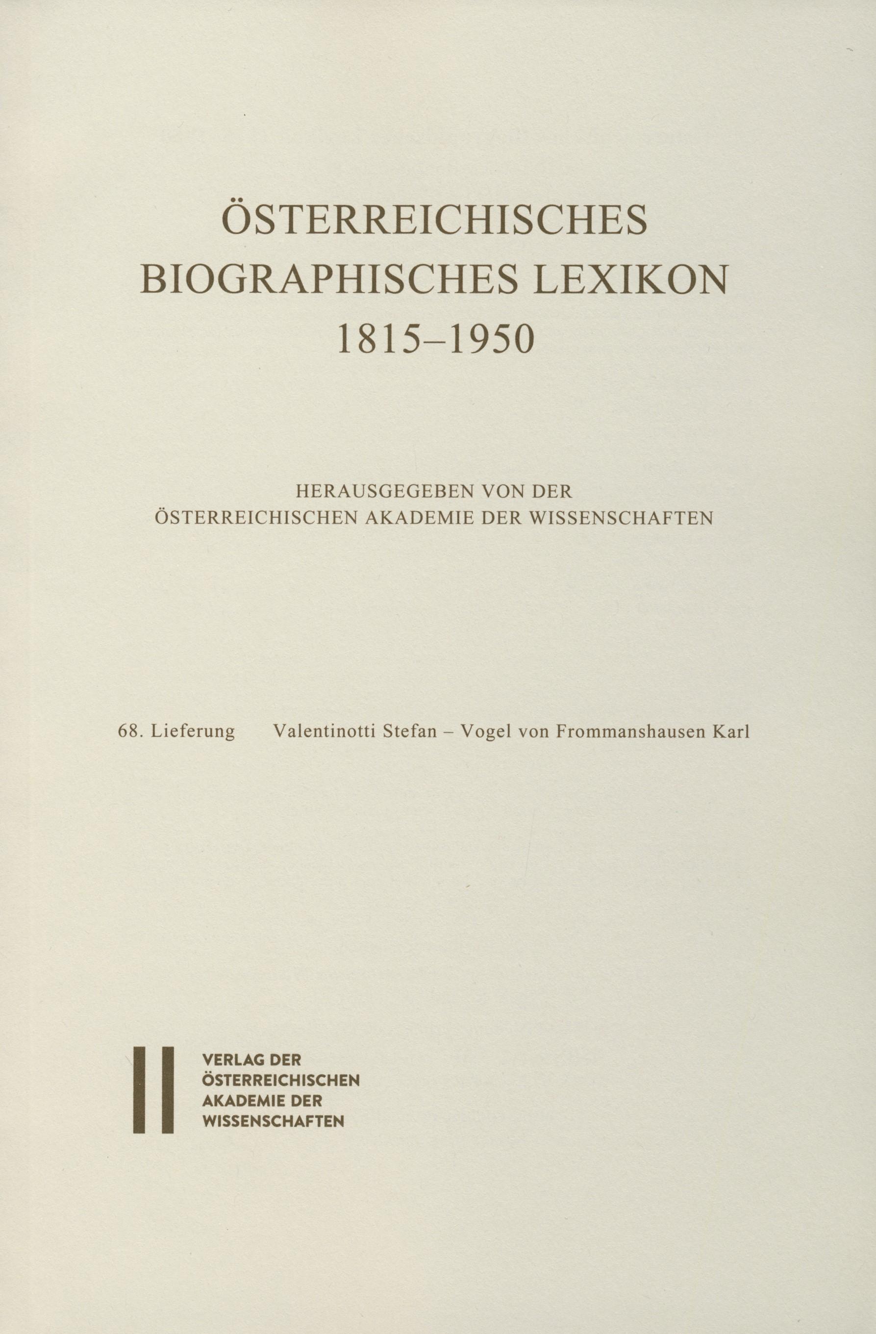 Österreichisches Biographisches Lexikon 1815-1950 / Österreichisches Biographisches Lexikon 1815-1950 Lieferung 68, 2017 | Buch (Cover)