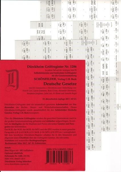 Dürckheim-Register - Deutsche Gesetze (Schönfelder) | v. Dürckheim | 19. Auflage, 2017 (Cover)