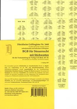 Abbildung von Dürckheim / Glaubitz | BGB im Steuerrecht mit Stichworten, Dürckheim-Griffregister Nr. 1668 (2017/2018) | 7., überarbeitet und aktualisierte Auflage | 2017 | 102 bedruckte Griffregister zu...