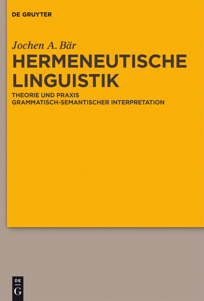 Hermeneutische Linguistik | Bär, 2017 | Buch (Cover)