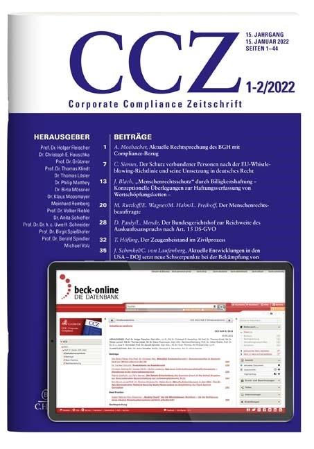 Abbildung von CCZ • Corporate Compliance Zeitschrift | 12. Jahrgang. | 2019