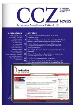 Abbildung von CCZ • Corporate Compliance Zeitschrift | 13. Jahrgang. | 2020
