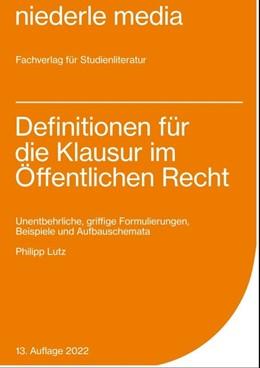 Abbildung von Lutz | Definitionen für die Klausur im Öffentlichen Recht | 9. Auflage | 2017 | beck-shop.de