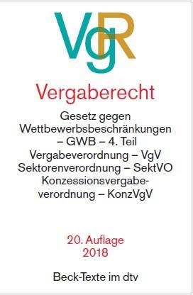 Vergaberecht: VgR | 20. Auflage, 2018 | Buch (Cover)