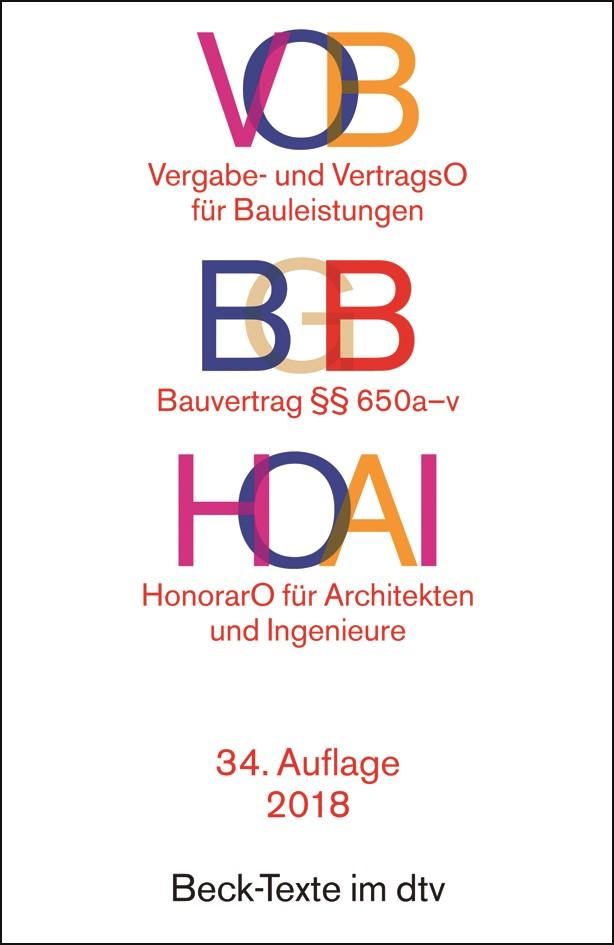 VOB / BGB Bauvertrag / HOAI | 34. Auflage, 2018 | Buch (Cover)