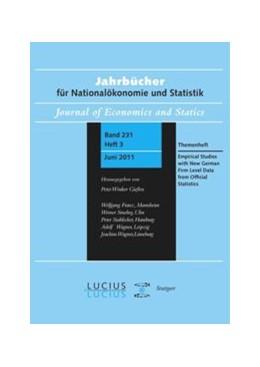 Abbildung von Malchin / Voshage / Wagner | Empirical Studies with New German Firm Level Data from Official Statistics | 1. Auflage | 2016 | Themenheft Heft 3/Bd. 231 (201...