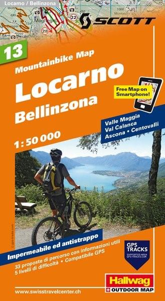 MTB-Karte 13 Locarno, Bellinzona 1:50.000   2. Auflage, Laufzeit bis 2019, 2016 (Cover)