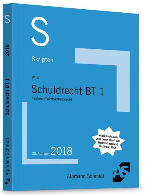 Skript Schuldrecht BT 1 | Wirtz | 20. Auflage, 2018 | Buch (Cover)