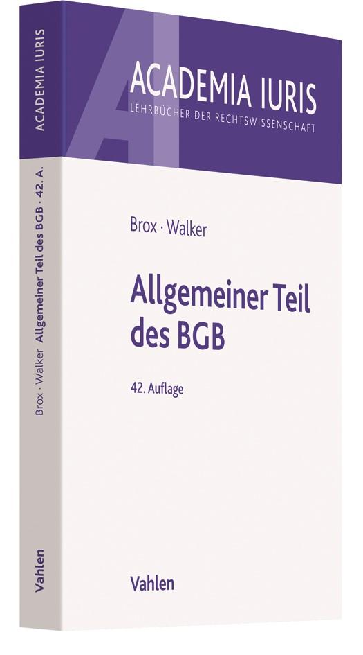 Allgemeiner Teil des BGB | Brox / Walker | 42. Auflage, 2018 | Buch (Cover)