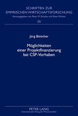 Abbildung von Bottcher | Moeglichkeiten einer Projektfinanzierung bei CSP-Vorhaben | 2013