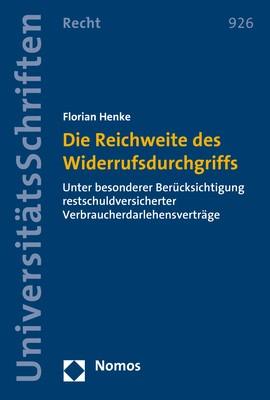 Die Reichweite des Widerrufsdurchgriffs   Henke, 2017 (Cover)