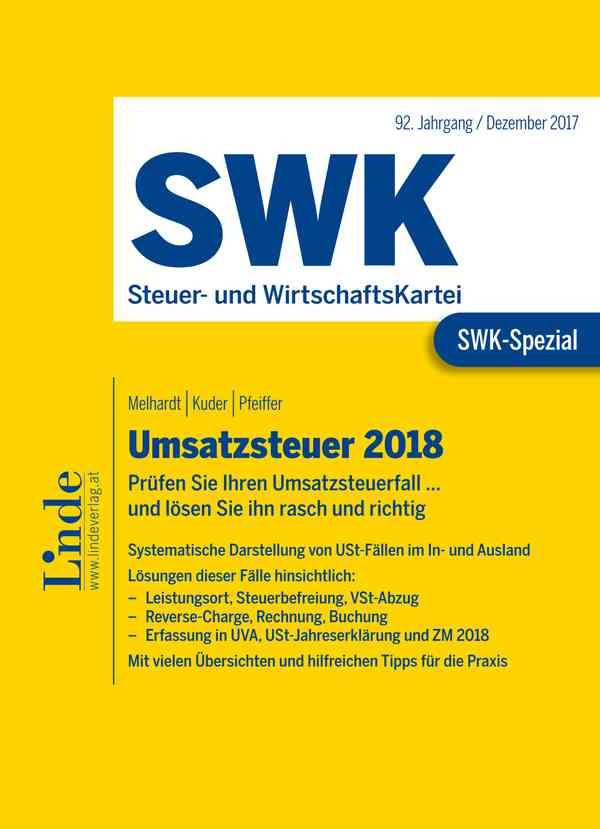 Abbildung von Melhardt / Kuder / Pfeiffer | SWK-Spezial Umsatzsteuer 2018 | 1. Auflage 2018 | 2017