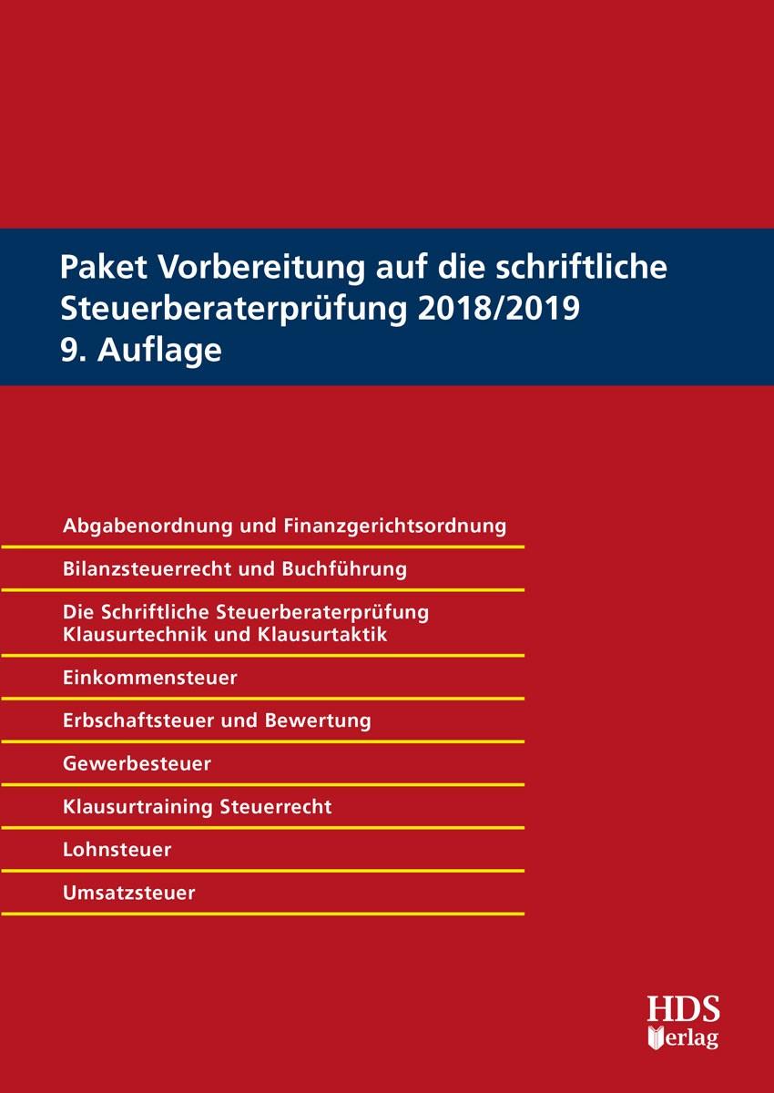 Paket Vorbereitung auf die schriftliche Steuerberaterprüfung 2018/2019 • Set   Maus / Endlich / Fränznick   9. Auflage, 2018   Buch (Cover)