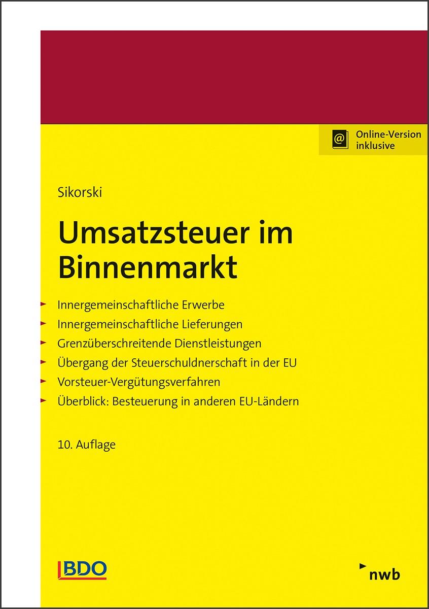 Umsatzsteuer im Binnenmarkt | Sikorski | 10. Auflage, 2018 (Cover)