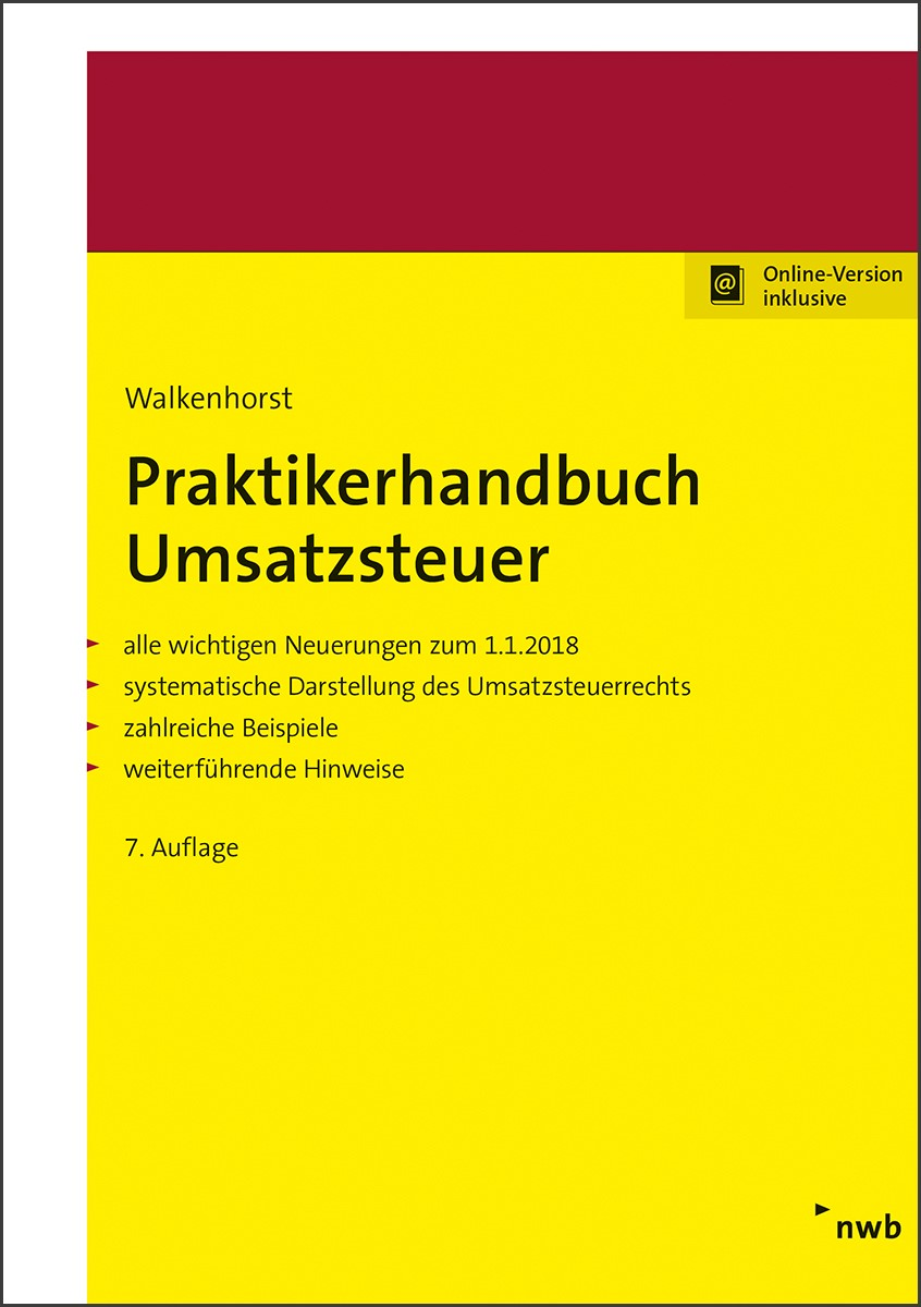 Praktikerhandbuch Umsatzsteuer | Walkenhorst | 7. Auflage, 2018 | Buch (Cover)