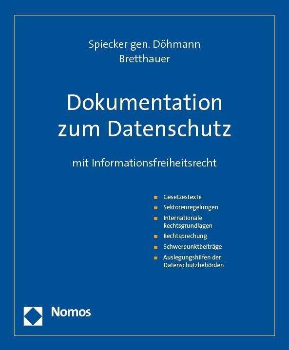 Abbildung von Spiecker gen. Döhmann / Bretthauer (Hrsg.) | Dokumentation zum Datenschutz | Loseblattwerk mit Aktualisierungen | 2019
