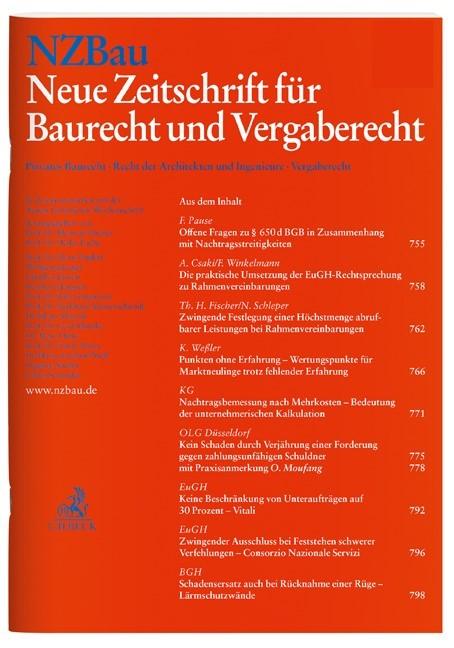 Abbildung von NZBau • Neue Zeitschrift für Baurecht und Vergaberecht | 20. Jahrgang | 2019