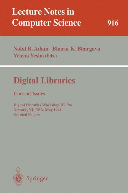 Digital Libraries: Current Issues | Adam / Bhargava / Yesha, 1995 | Buch (Cover)