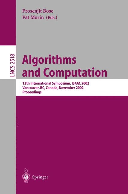 Algorithms and Computation | Bose / Morin, 2002 | Buch (Cover)