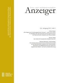 Geistes-, sozial-und kulturwissenschaftlicher Anzeiger 152. Jahrgang 2017, Heft 1   Österreichische Akademie d. Wissenschaften / Kowar / Thiede, 2017   Buch (Cover)