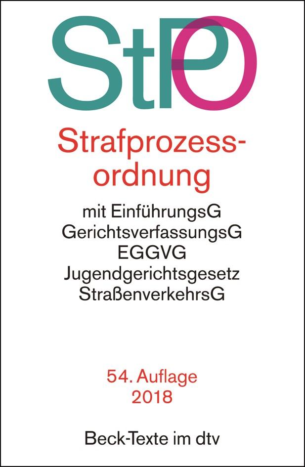 Strafprozessordnung: StPO | 54., neu bearbeitete Auflage, 2018 | Buch (Cover)