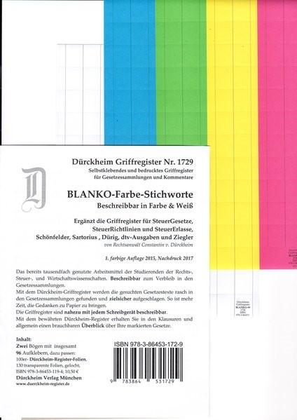 BLANKO FARBE-GROSS Dürckheim-Griffregister Beschreibbar Nr. 1729 | Dürckheim, 2017 (Cover)