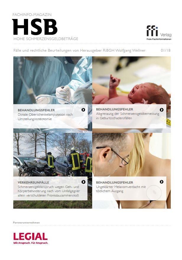 Fachinfo-Magazin - Hohe Schmerzensgeldbeträge (HSB) - Ausgabe 01/2018, 2018 (Cover)