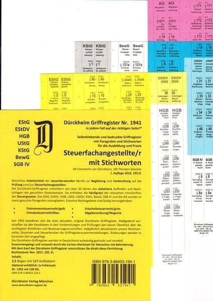 Dürckheim-Register - Steuerfachangestellte   Glaubitz / Dürckheim   3. Auflage, 2018 (Cover)