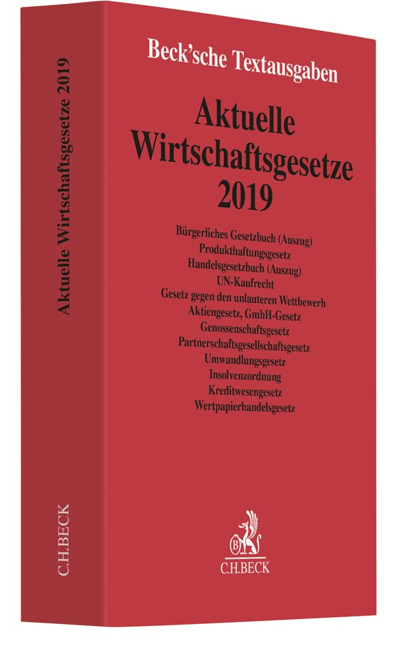 Abbildung von Aktuelle Wirtschaftsgesetze 2019   20. Auflage   2019